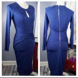 Venus Wrap Front Long Sleeve Keyhole Blue Dress
